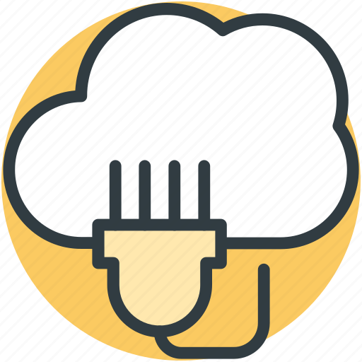 cloud computing, cloud connection, cloud network, internet hub, power cord icon