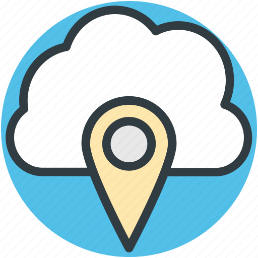 cloud navigation, map pin, online gps, online location, online mapping icon