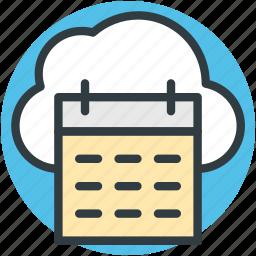 cloud calendar, cloud computing, cloud storage, online calendar, schedule icon