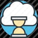 cloud loading, hourglass, cloud refresh, cloud hourglass, updating cloud