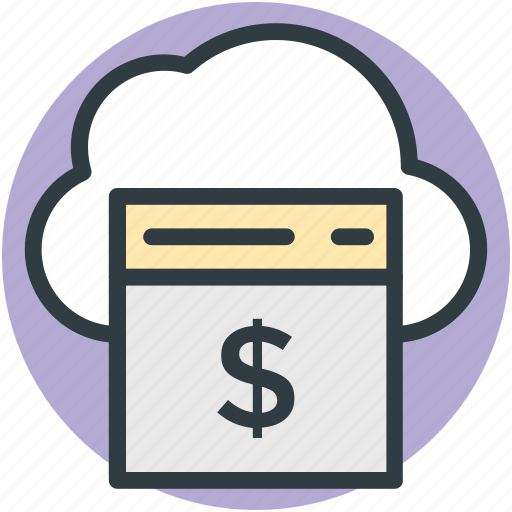 cloud finance, online business, online money, online work, web business icon
