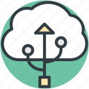 cloud computing, cloud storage, data storage, file storage, usb sign icon