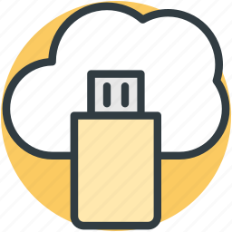 cloud computing, cloud storage, data storage, file storage, usb icon