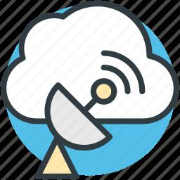 cloud technology, satellite dish, space antenna, wireless broadcasting, wireless network icon