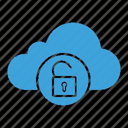 cloud computing, cloud storage, padlock, password, privacy, security, unlock icon