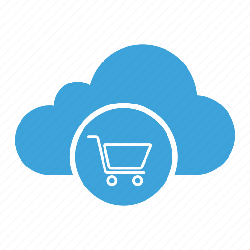 cart, cloud computing, cloud storage, purchase, shopping, store, trolley icon