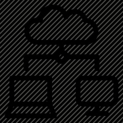 cloud sharing, laptop, led, monitor, sharing icon