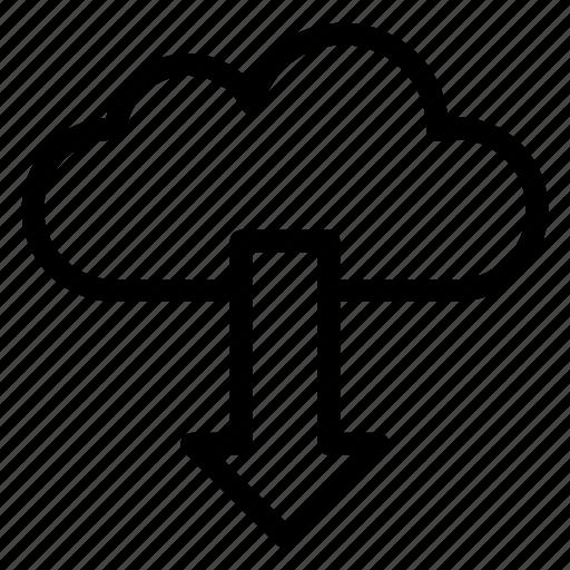 cloud, cloudy, down, download, rain, server icon