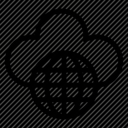 cloud, cloudy, earth, internet, rain, world icon
