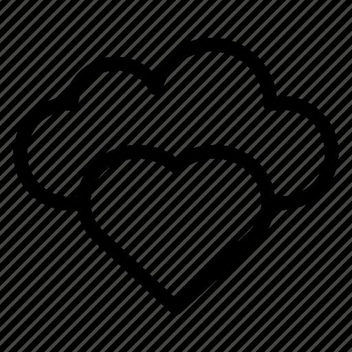 Heart, cloud, cloudy, rain, forecast icon