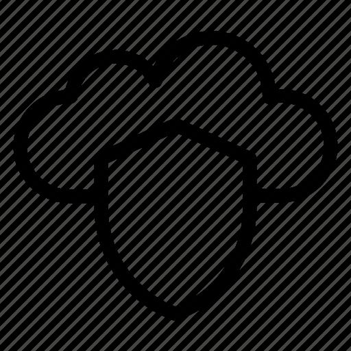 Shield, cloud, data, cloudy, rain, forecast icon