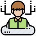 cloud, customer, human, service, user icon