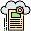 cloud, document, file, setting icon