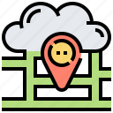 cloud, gps, location, navigation, pin icon
