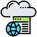 cloud, data, file, website, world icon