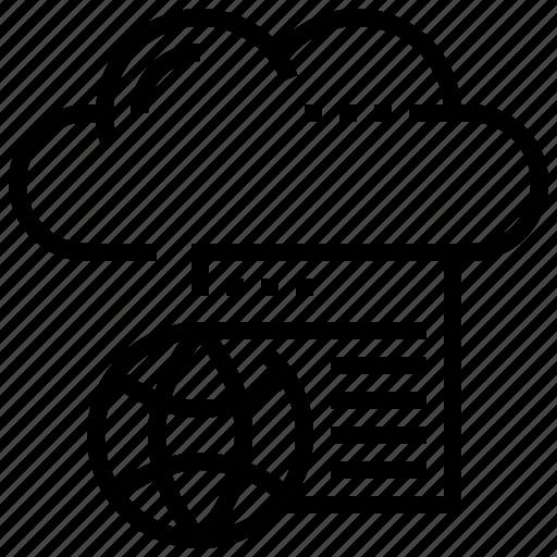 cloud, data, file, website, world icon