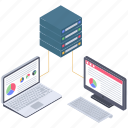 big data analytics, data server analytics, databank analytics, database analytics icon