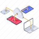 cloud computing, cloud connected devices, cloud connection, cloud network, cloud sharing, cloud technology icon