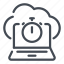 cloud, connection, laptop, network, service, speed, test icon