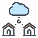 cloud, service, home, house, connect, connection, network