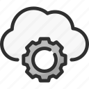 cloud, cogwheel, options, service, settings, storage icon