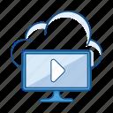 cloud, cloud broadcast, data, media, service, storage, tv icon