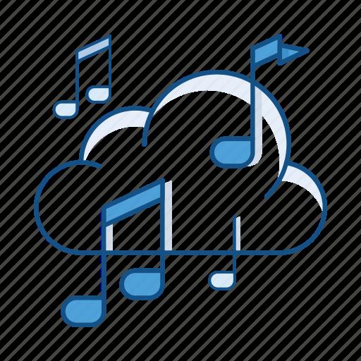 audio, cloud, music, player, service, sound, storage icon