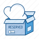 box, cloud, package, pool, reservation, reserved, services icon