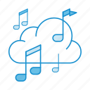audio, cloud, music, player, service, sound, storage icon