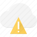 alert, attention, cloud, computing, error, warning icon