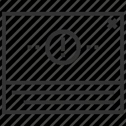 alert, communication, danger, message, warning icon