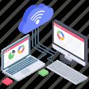 business analytics, cloud data analytics, data analytics, data representation, online web analytics, wireless connection icon
