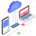 cloud computing, cloud connection, cloud devices, cloud services, cloud technology icon