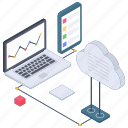 business analytics, cloud data analytics, data analytics, data representation, online web analytics, statistics icon