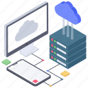 cloud computing, cloud datacenter, cloud services, cloud storage, cloud technology icon