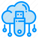cloud, data, online, store, usb icon