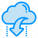 arrow, cloud, data, down, download icon