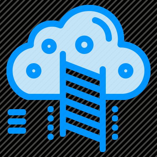 cloud, data, ladder, reach icon