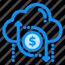 arrow, cloud, data, dollar, money icon
