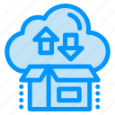 arrow, box, cloud, gift, package icon