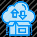 arrow, box, cloud, gift, package