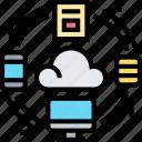 cloud, hosting, device, data, synchronize icon