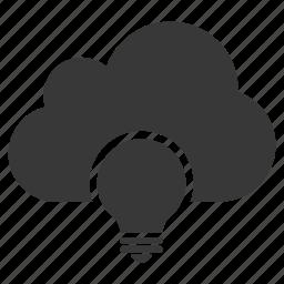 bulb, cloud, concept, creative, creativity, idea, light icon