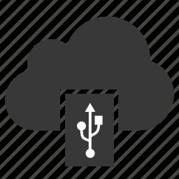 cloud, disk, drive, flash, memory, storage, usb icon