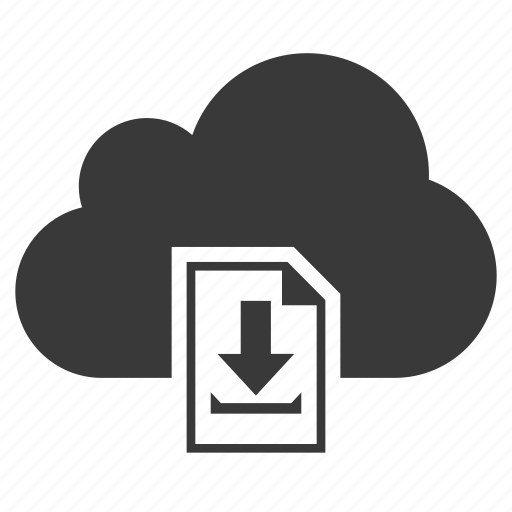 arrow, cloud, document, down, down arrow, download, save icon