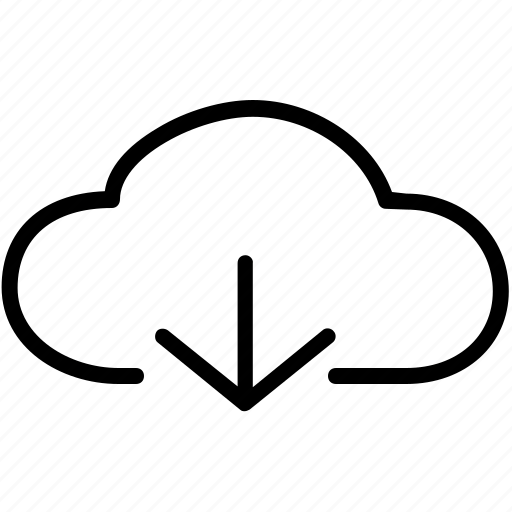 arrow, clouds, connection, down, download, network, storage icon