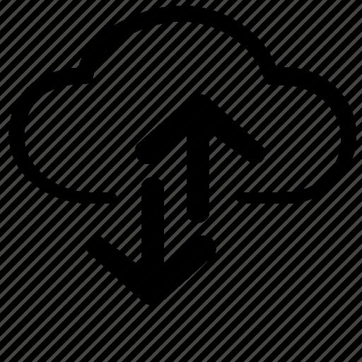 arrow, clouds, internet, move, transfer, wifi icon