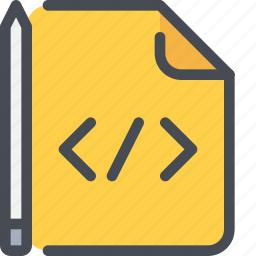 code, coding, develop, development, file, learning icon