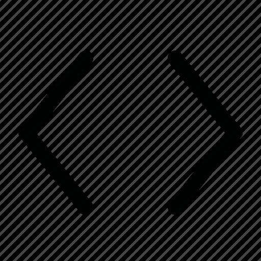 arrow, code, css, gap, gaps, html icon