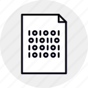 binary, code, coding, data, document, file, program icon